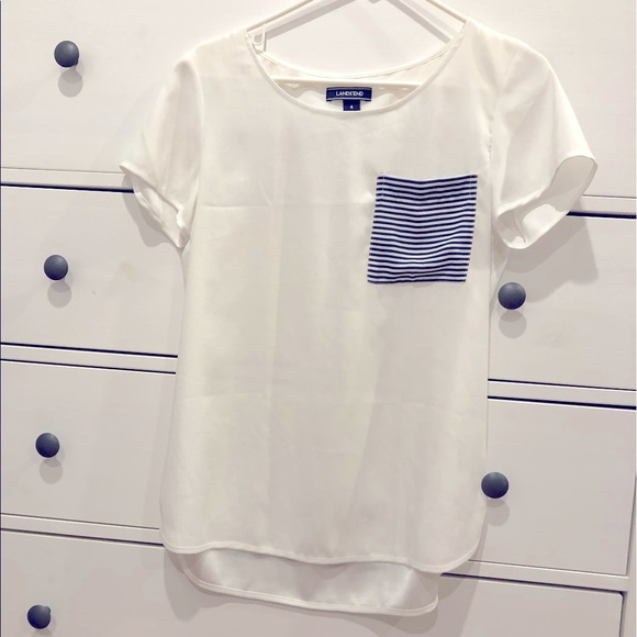 White crepe blouse with navy striped pocket